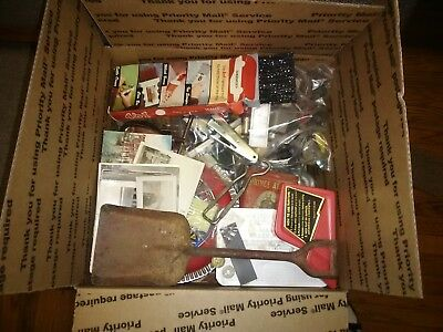 Junk Drawer Lot Coins,knives, Lead Soldiers,old Postcards And Pictures,much More
