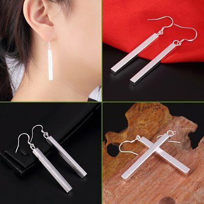 Women Silver-Plated Bar Stick Dangle Drop Hook Earrings Charm JewelryLL