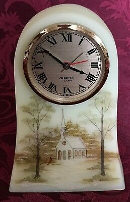 Vtg FENTON HP LE #540 of 5000 CLOCK with CHURCH~CARDINAL~FROSTY WINTER SCENE