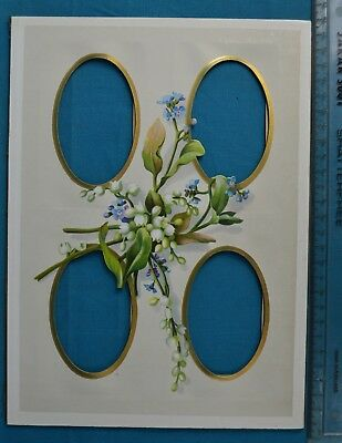 Antique Victorian Colour Printed Album Photo Mount Flowers 4 Image Positions