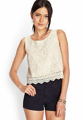 Euc Forever 21 Floral Crochet Lace Top Tank Shell Sleeveless Cream