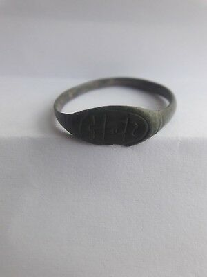 Ring Middle Ages Bronze hand engraving Russia