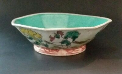 """Antique Tongzhi 19th Chinese Porcelain Footed Rooster Bowl Paranakan/ Straits 6"""""""