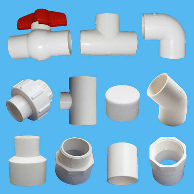 20/25/32mm PVC Water Pipe Adapter Ball Valve/End Cap/90° Elbow/Tee Connectors