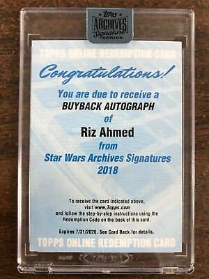 Star Wars Archives Signatures Riz Ahmed Auto Autograph Buyback Redemption #ed/??