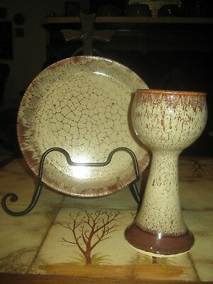 Communion Chalice Chalis Cup and Plate Pottery Ceramic Hand Made