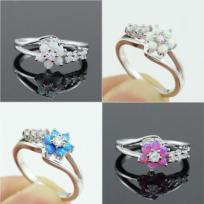 Ladies Women Opal Alloy Ring Artificial Fashion Elegant Engagement Ring Leisure