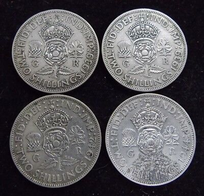 4 x English Two Shillings (2 x 1939, 1 x 1942 and 1 x 1944)