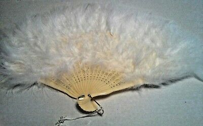 White Feather Hand Fan w/ Tassels New in Package