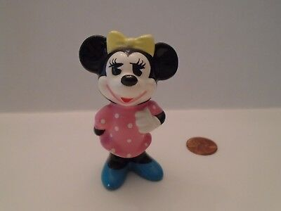 Vintage! Disney Minnie Mouse Ceramic Figurine Pink Polka Dots Made In Japan, 3""