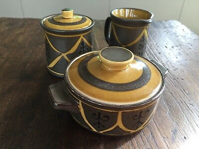 Vintage Retro Pottery Stoneware Sugar Milk Cream Set Japan
