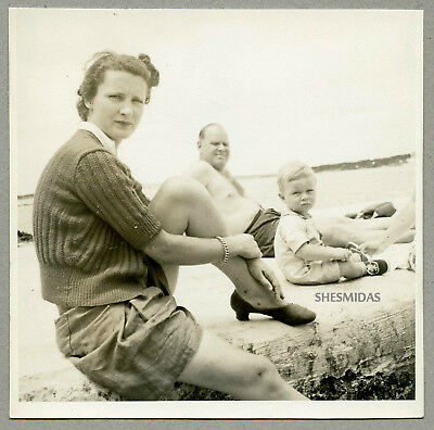 #989 Getting a Leg Up! Woman, Man, Young Boy, Vintage Photo