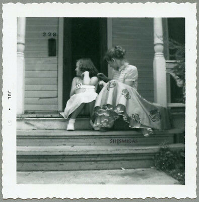 #981 Braiding Her Hair, Young Girls in Profile, Vintage 1957 Photo