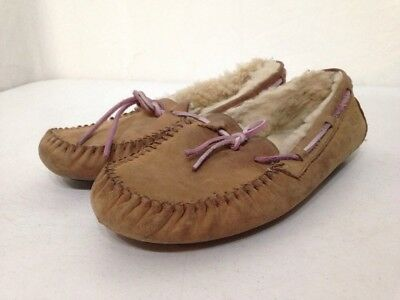 Women's Brown Leather UGG Slippers-Size 8