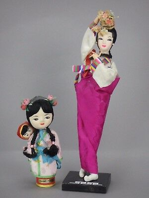 Vtg Oriental Asia Chinese 2 China Dolls Geishas Cloth Made in Taiwan Fuchsia