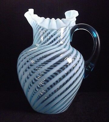 Fenton Glass Northwood Blue Opalescent Spiral Optic Pitcher Ruffled Top Signed