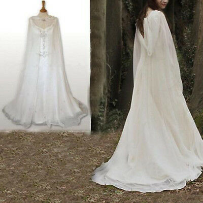 Chiffon Hooded Wedding Bridal Cloak White Ivory Capes Medieval Wrap Floor Length