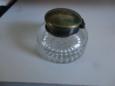 Antique Hand Blown Glass Inkwell with Brass Lid