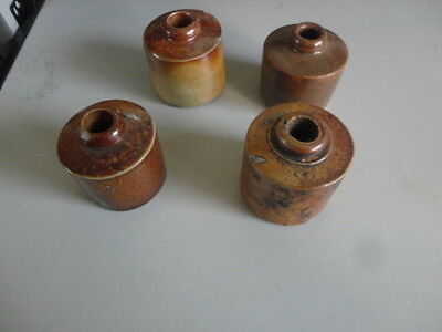 Four Vintage/Antique Clay Inkwells