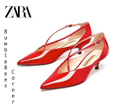 d82acf51a36 ZARA Mid Heel Pumps FAUX PATENT LEATHER Crossed Straps RETRO Shoes NWT  2222 301