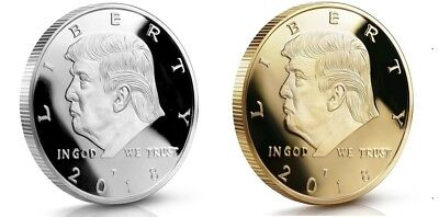 2018 Donald Trump Set of 2 Challenge Coins SILVER and GOLD 40 MM Proof