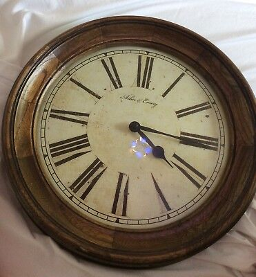 """Arbor Of Emory Wall Clock Wood Circle Frame Old World Style 15"""""""