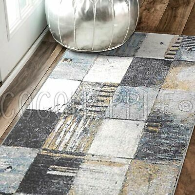 Ronda Abstract Squares Colourful Modern Floor Rug Runner 80x300cm *FREE DELIVERY