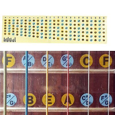 Guitar Neck Fretboard Note Fret Stickers Labels Decals Learn Fingerboard