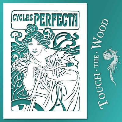 Shabby Chic STENCIL: Art Nouveau Cycles Perfecta Poster #087