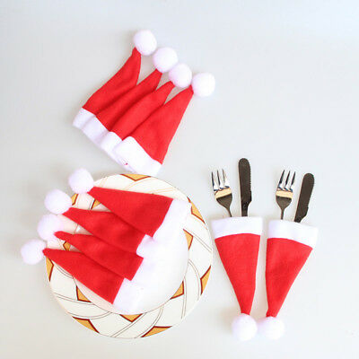 10PCS Christmas Xmas Mini Caps Hat Cutlery Holder Fork Spoon Pocket Decor Bags