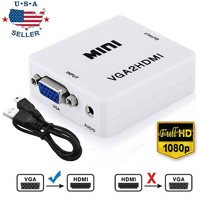 VGA to HDMI Full HD Video 1080P Audio Converter Box Adapter for Laptop PC TV DVD