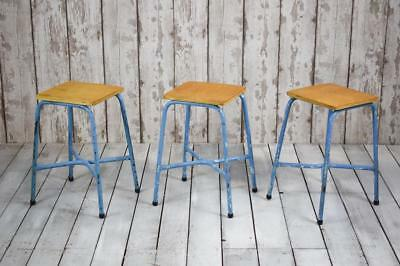Vintage Industrial Mid Century Metal and Plywood Chair Height Cafe Bar Stools