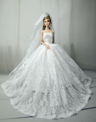 White Fashion Princess Party Dress/Wedding Clothes/Gown+Veil For Barbie Doll K06