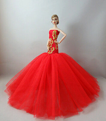 Red Royalty Mermaid Dress Party Dress/Clothes/Gown For 11 in. Doll F08