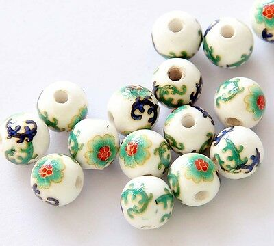 15pcs Hand Painted Flower Porcelian Beads Finding For Jewelry Making