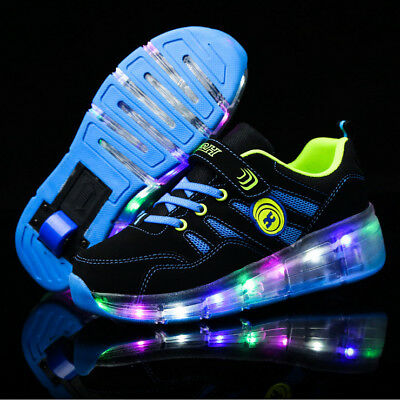 Kids Girls Boys Skate LED Shoes Size Light Up Heelys One wheel Shoes Trainers