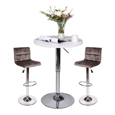 3 Piece Pub Round Table Set Bar Stools Adjustable Dining Counter Chairs Kitchen