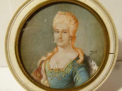 Antique 19thC Portrait Miniature of Duchess De Orleans Signed Nodirt Patch Box *