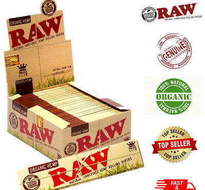 RAW ORGANIC HEMP KING SIZE Slim Genuine Rolling Paper Cigarette 1-50 Booklets