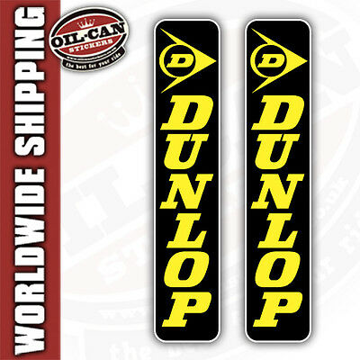 2x DUNLOP MOTORBIKE FORK STICKERS 40 x 200mm