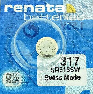 1 PCS Renata SR516SW 317 1.55V Silver Oxide Battery for Watch Swiss Made