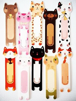 10X Cat Color Paper Bookmark Stationery Souvenir Collection Decoration Kids Gift