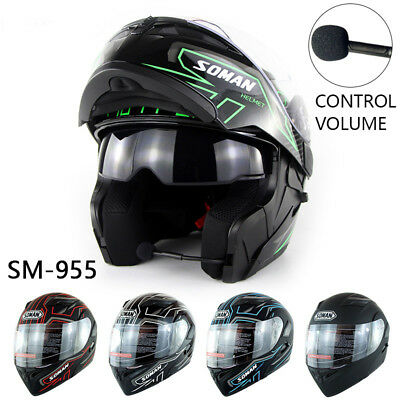 Bluetooth Headset Double Visor Flip Up Helmet Motorcycle Helmets Motorbike DOT