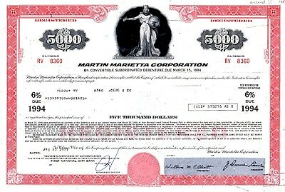 Martin Marietta Corporation 1977 uncancelled $5000 Registered Bond Certificate