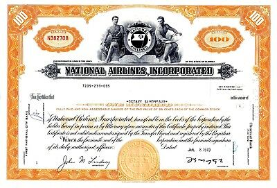 National Airlines Incorporated of Florida 1970's Stock Certificate - orange