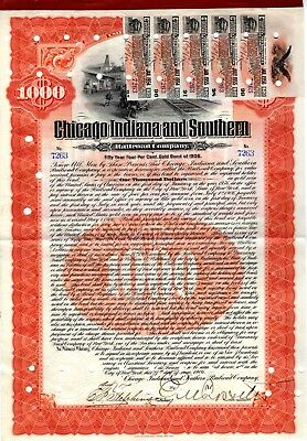 Chicago Indiana & Southern RR Company 1906 $1000 Bond Certificate