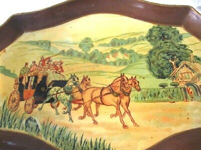 Rare Yellow Antique Hand Painted Western Stagecoach Horses Tole Paper Mache Tray