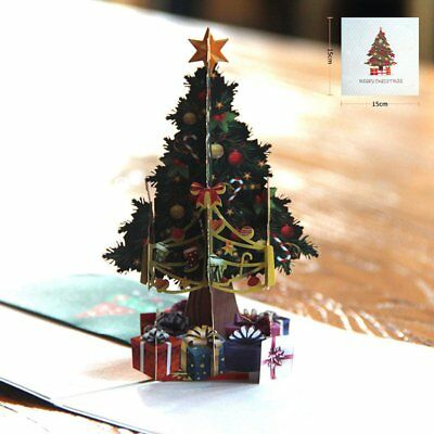 3D Hollow Carved Christmas Tree Card Pop Up Cards Laser Cut For Christmas Day PT