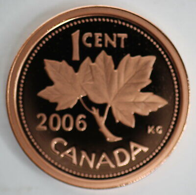 2006 Canada 1 Cent Proof Non-Magnetic Penny Heavy Cameo Coin