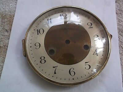 HAC GLASS / RIM/FACE  FROM AN OLD   MANTLE CLOCK  OUTER 6 1/4 inch diam